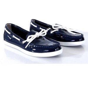 Cole Haan Nantucket camp moccasin navy blue patent